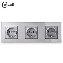 COSWALL kristal temperli cam Panel 3 Gang güç duvar soket topraklı 16A ab standart gri elektrik üçlü çıkış
