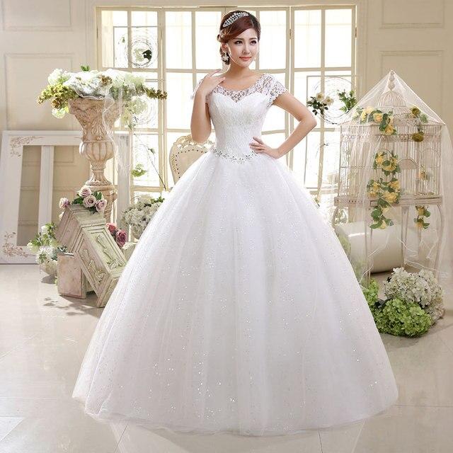 LAMYA Cheap Crystal Lace Wedding Dresses Beaded Sequin Tulle Ball Gown Bride Gowns Cap Sleeve Vestidos De Novia Robe De Mariee 1