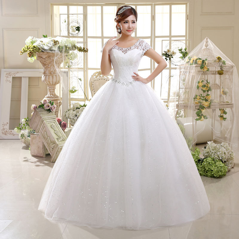 Cheap Bridal Beaded Sequin Crystal Lace Wedding Dress 2019 Weeding Tulle Cap Sleeve Long Wedding Ball Gown Vestidos De Novia