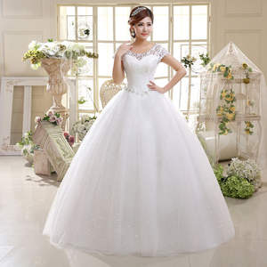 Ball-Gown Wedding-Dress Crystal Sequin Tulle Bridal Cap-Sleeve Cheap Lace Long Beaded