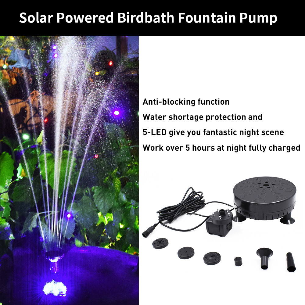 New Solar Fountain Pump Birdbath 6V 3.5W LED Solar Powered Brushless Submersible Water Pump for Patio Garden Pond Pool Garden De