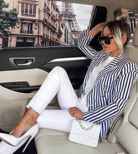 Plus Size XL XXL Women Winter Style Sexy V Neck Long Sleeve Striped Blazer Coat 2020 Fashion Designer High Street Coats(China)