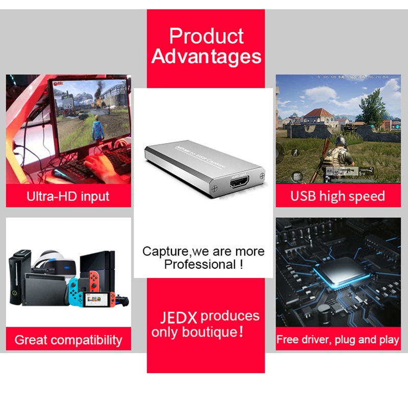 USB 3.0 1080P 4K HD Video Capture HDMI Game Capture Card Suitable for Game Live Broadcasts Video Recording Computer Accessories 4