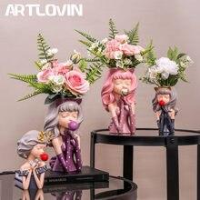 ARTLOVIN – Vase à fleurs en résine pour fille, Pot de plantes artificielles, décoration élégante pour la maison, ornement de bureau, Figurine
