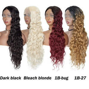 Image 5 - S noilite 28inch Long Ombre Lace Front Wig 4*0.6 deep lace synthetic lace front wig free parting body wave wig for black women
