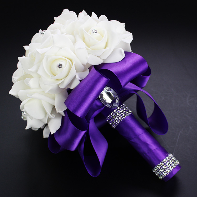2019 Good Quality Cheapest PE Rose Bridesmaid Wedding Foam flowers Rose Bridal bouquet Ribbon Fake Wedding bouquet de noiva 5