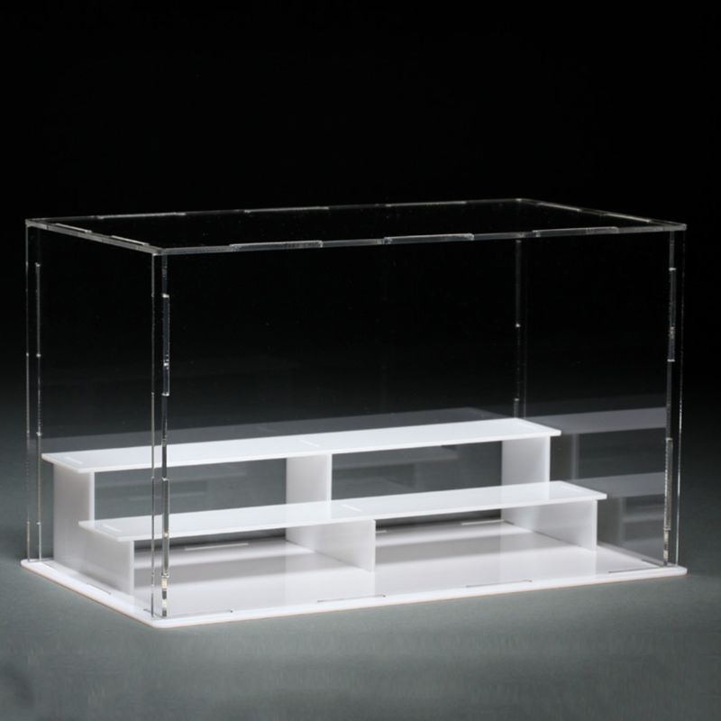 3 Steps Black Plastic Display Box Case  Dustproof Tray Storage Case DIY Box