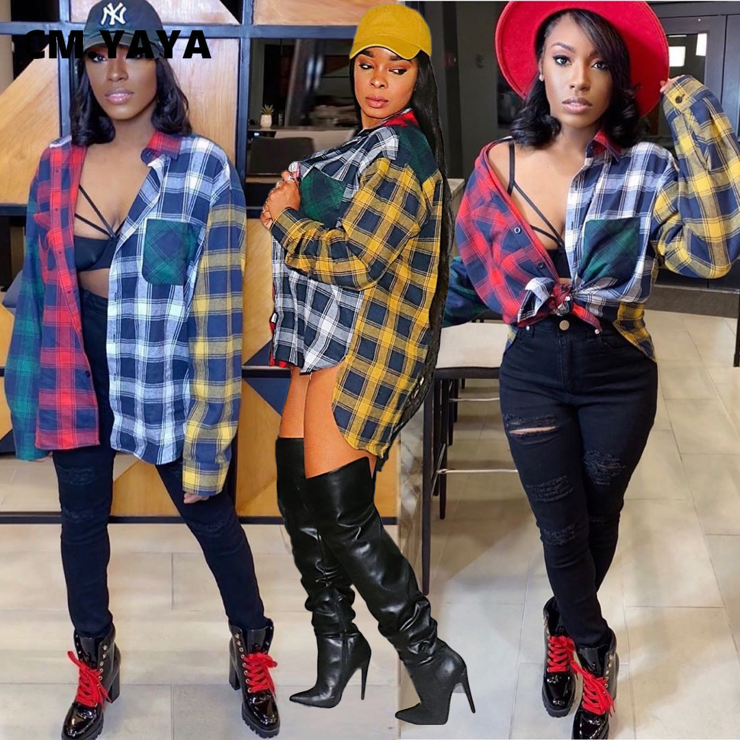 Cm. Yaya Herfst Lente Plaid Patchwork Vrouwen Button Up Met Lange Mouwen Hoog Laag Blouses Shirt Activewear Street Tops