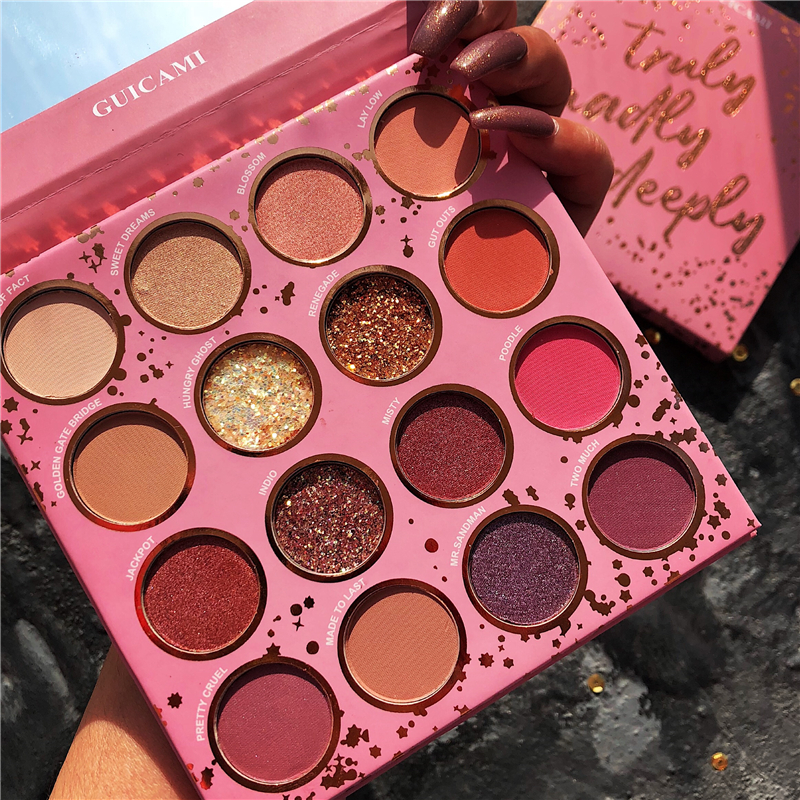 Guicami Brand Shimmer Matte Eyeshadow Makeup Palette 16Colors Holographic Nude Glow Pigment Eye Shadow Long Lasting Cosmetic Set