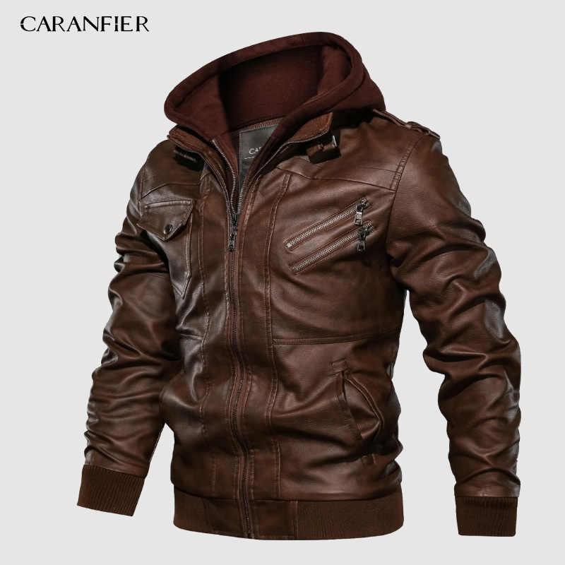 CARANFIER Mens PU Hooded เสื้อแจ็คเก็ตรถจักรยานยนต์ BIKER Faux หนังแจ็คเก็ตผู้ชายฤดูหนาวแจ็คเก็ตเสื้อผ้ายุโรปขนาด