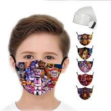 Crianças máscara de cinco noites em frieddys 3d impressão máscara boca tecido proteção pm 2.5 poeira lavável meninos moda fnaf criança rosto capa