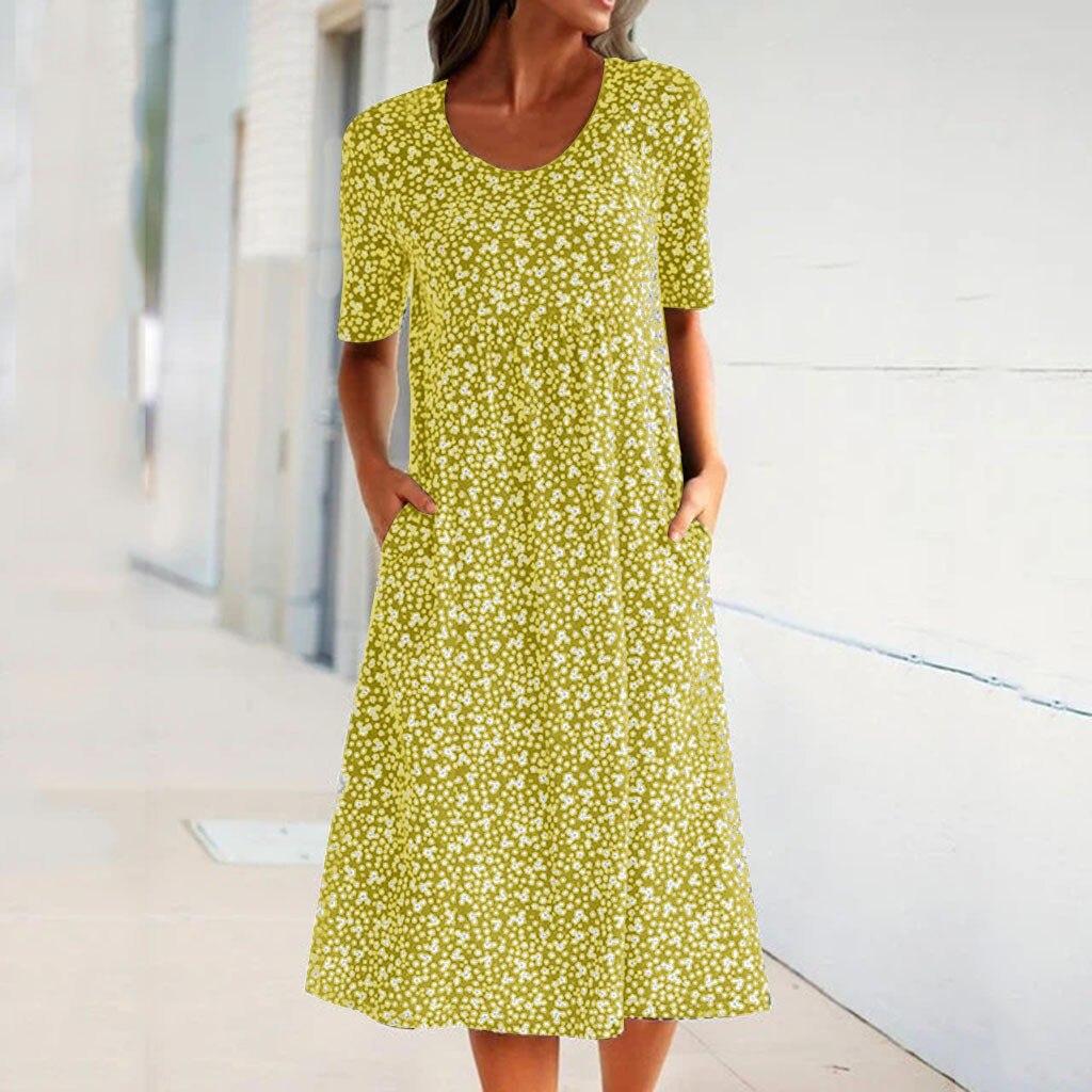 vestido de mujer Women Summer Boho Floral Print Dress Round Neck Short Sleeve Loose Pocket Dress