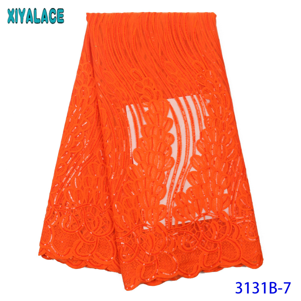 Burnt Orange Lace Latest Lace Fabric African Fabric Lace With Sequins For Nigerian Formal Dresses KS3131B