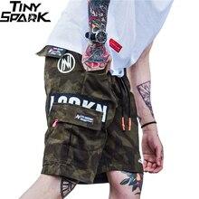 Мужские камуфляжные шорты карго в стиле Харадзюку, повседневные камуфляжные шорты в стиле милитари с боковым карманом, 2020