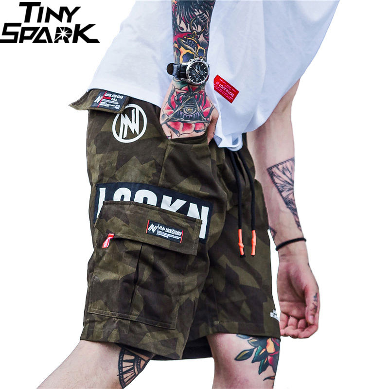 2019 Hip Hop Cargo Short Camo Men Harajuku Short Joggers Streetwear Tatical Military Casual Side Pocket Short Camouflage Hipster