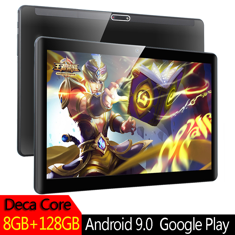 2020 Version globale Android 9.0 tablette 10 pouces 1920x1200 MTK 6797 10 cœurs 8GB RAM 128GB ROM double caméra 3G 4G double carte SIM