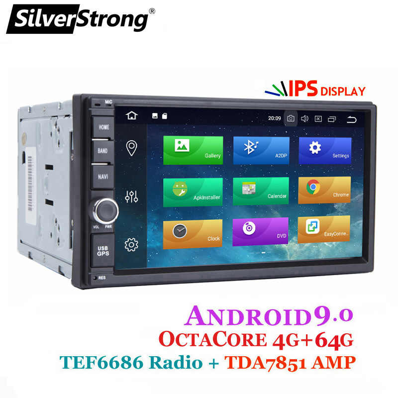 Silverstrong Android9.0 8Core 4G 64G Universal 2Din Radio GPS Mobil Double Din Radio TEF6686 Multimedia Auto Radio- XJ7001