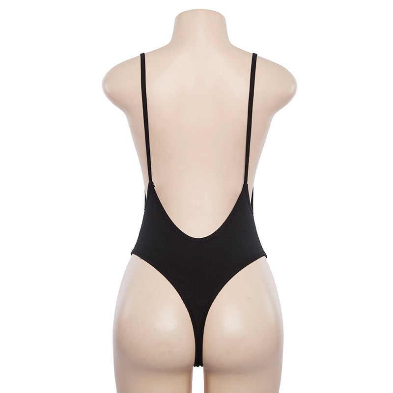 Sommer Mode 2020 Neue Ankünfte Solide Nude Sexy V-ausschnitt Backless Schwarz Grau Bodycon Strand Body Strampler High Street Bodys