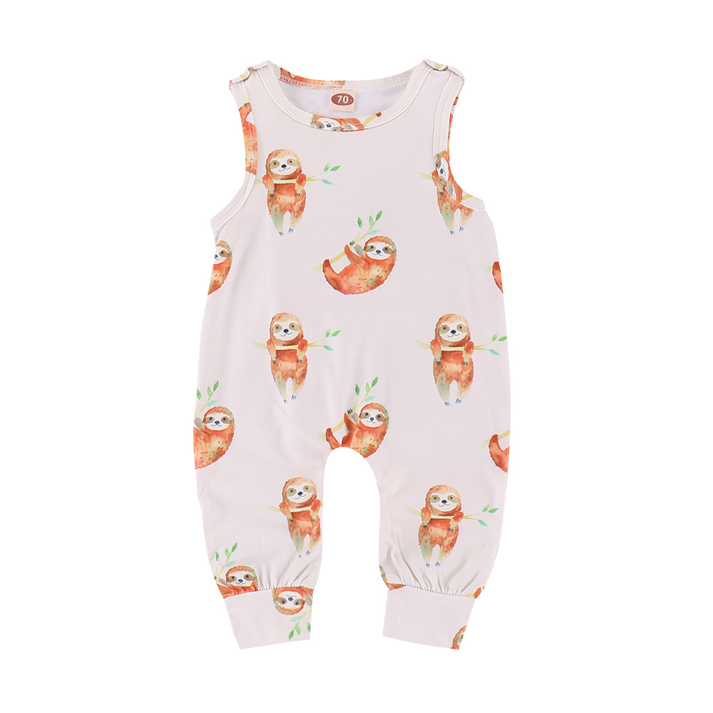 Babys Lazy Sloth On A Branch Long Sleeve Romper Onesie Bodysuit Jumpsuit