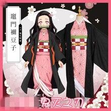 2019 Demon Slayer Kimetsu no Yaiba Kamado Nezuko Kimono For Christmas Halloween costume full set demon slayer kimetsu no yaiba kamado nezuko cosplay costume kimono wig geta shoes headwear japan anime halloween dress