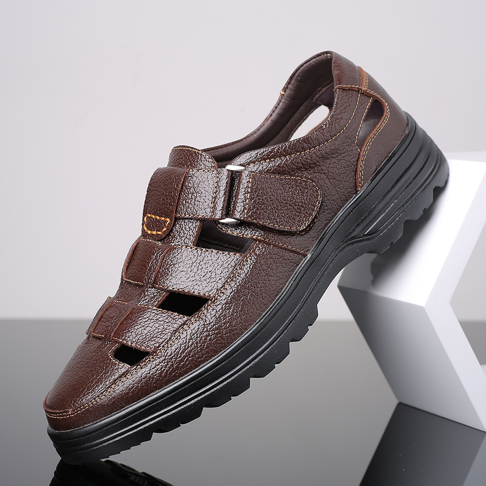 2019 Spring Summer New Style Genuine Leather Casual MEN'S Sandals Velcro Breathable Flat Heel Closed-toe MEN'S SHOES