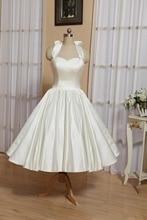 Короткие свадебные платья vestido де noiva платье чай длина сад свадебные платья Холтер шеи пользовательские старинные платье