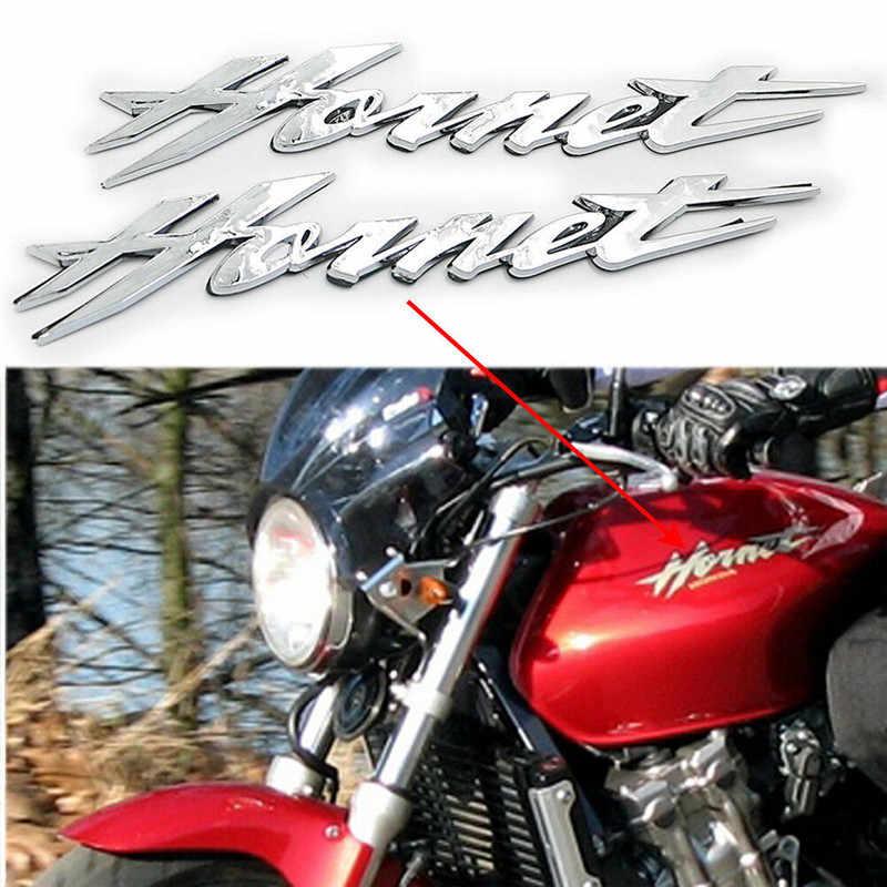 2 Pcs Chrome 3D Gas Tangki Bahan Bakar Emblem Lencana Decal Logo Simbol Mark untuk Honda Hornet 250 400 600 CB600F 599 900 CB900F 919