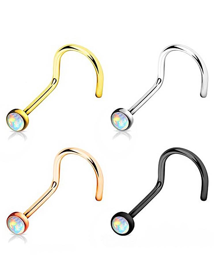 Hongtu 1pc Opal Nose Screw Rings 20g Steel Nose Piercing Body