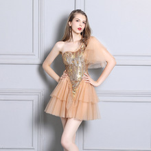 Prom Dresses 2019 Tulle Sexy Dress Short One Shoulder Backless Nightclub Perspective Fashion
