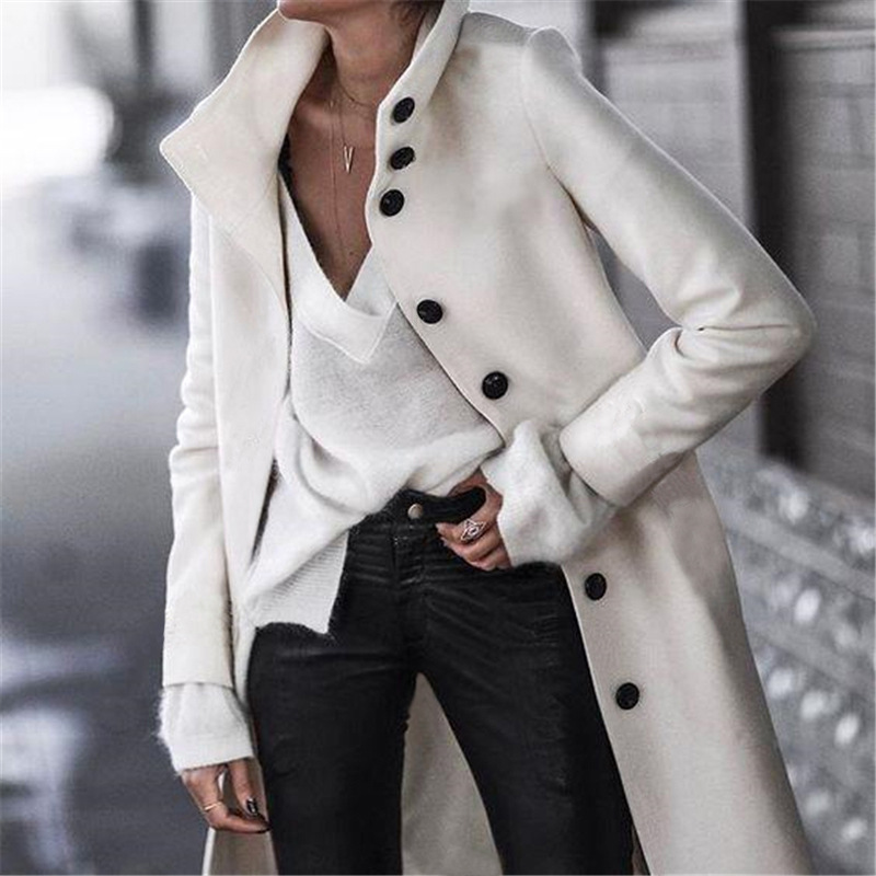 Wool Coat Women Elegant Office Black White Long Sleeve Overcoats Ladies Long Jackets Winter Buttons Single Breast Outfits M0011