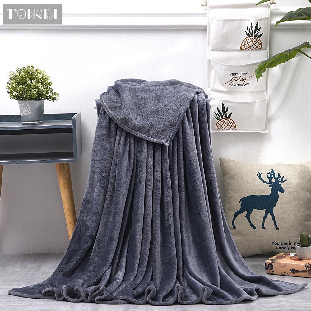 TONGDI Soft Warm Light Fannel Fleece Fur Blanket Solid Winter Couch Cover Bed Sofa Machine Wash Plush Blanket Bedspread Children