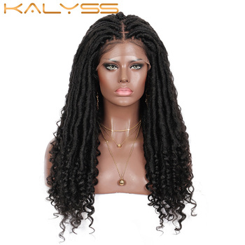Kalyss 18inches Goddess Locs Braided Lace Front Wigs for Black Women Synthetic Wig with Curly Ends Knotless Braids - discount item  30% OFF Synthetic Hair