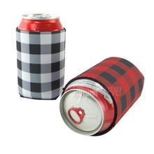 Сумка-холодильник в клетку Красного буйвола, опт, заготовки из неопрена, черная, красная, в клетку, чехлы на банки, свадебный подарок, оловянные обертывания