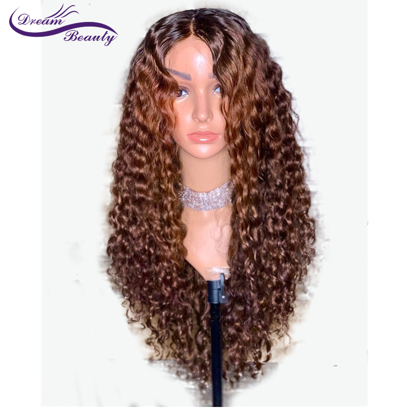 13x6 Ombre Color Blonde Lace Front Wig Brazilian Curly Remy Ombre Human Hair Wigs Pre Plucked Bleached Knots Dream Beauty