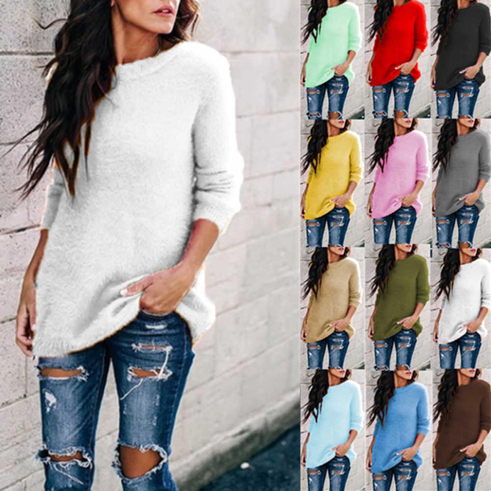 가을 여성용 스웨터 캐주얼 솔리드 오 넥 긴 소매 니트 풀오버 탑 여성 니트 스웨터 플러스 사이즈 S-5XL 12 색