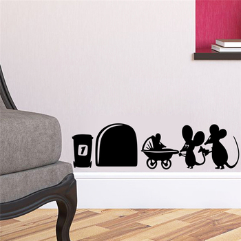 2020 New 1 Pcs Cartoon Style PVC Material Mouse Family Cute Mouse Hole Wall Sticker For Kids Rooms Decal Vinyl Home Decoration image