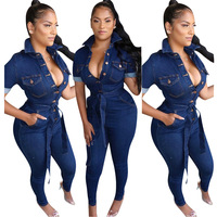 2019 Women Denim Jumpsuit Ladies Jeans Rompers Female Casual Plus Size Denim Overall Playsuit With Pocket