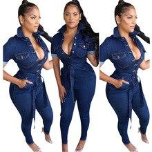 2019 Women Denim Jumpsuit Ladies Jeans Rompers Female Casual Plus Size Denim Ove