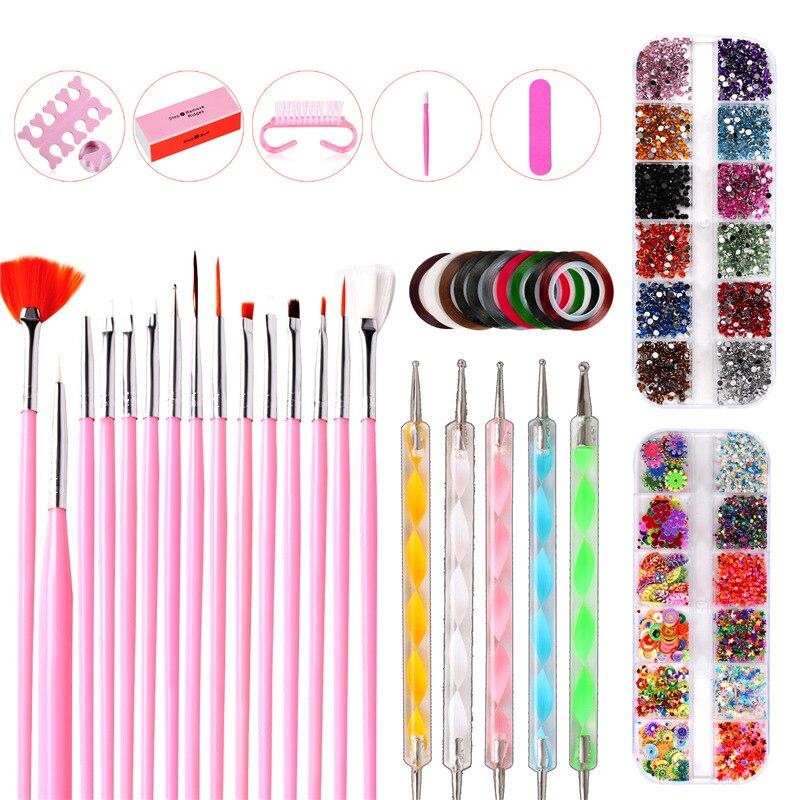 38Pcs Nail Tools Nail Brush Nail File Nail Art Nail Buffer Toe Separator Wax Pen Rhinestone Picker Nail Art Decorations