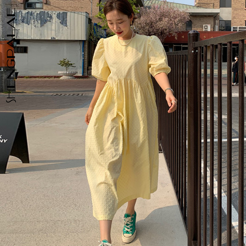 SHENGPALAE 2020 New Summer Women Vintage Loose High Waist Slim Was Thin Elegant Puff Sleeve Big Swing Maxi Dress ZA4307