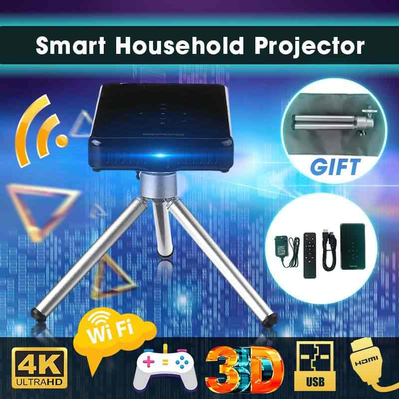 Mini proyector LED 4K DLP Android, con WiFi y bluetooth 4,1, HD1080P, vídeo, cine en casa, compatible con Miracast AirPlay