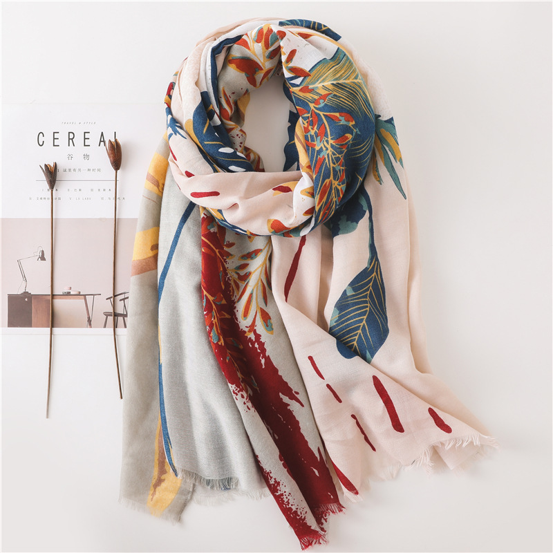 Large Size Summer Cotton Tassel Scarf Flower Pattern Sunscreen Large Shawl Silk Scarf Beach Towel For Woman