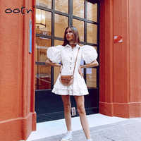 White Elegant Super Mini Puff Sleeve Shirt Dress Women Single-Breasted Turn Down Collar Summer Autumn Cotton Pleated Slim Dress