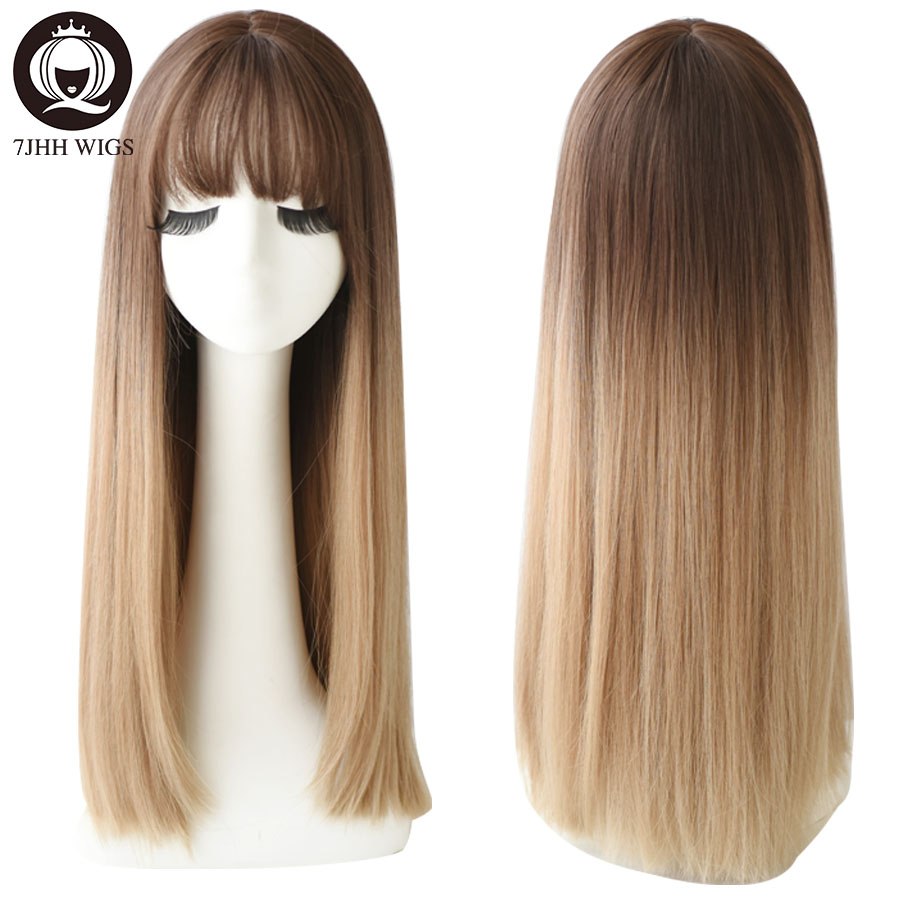 7JHH Purple Black Long Straight Hair With Bangs Wigs For Women Noble Lolita Wig Heat Resistant Synthetic Wigs Cosplay Or Party