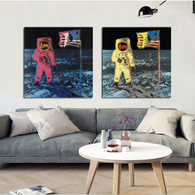 2017 Andy Warhol Space Planet astronaut Classical oil Painting Drawing art Spray Unframed Canvas square picture free shipping
