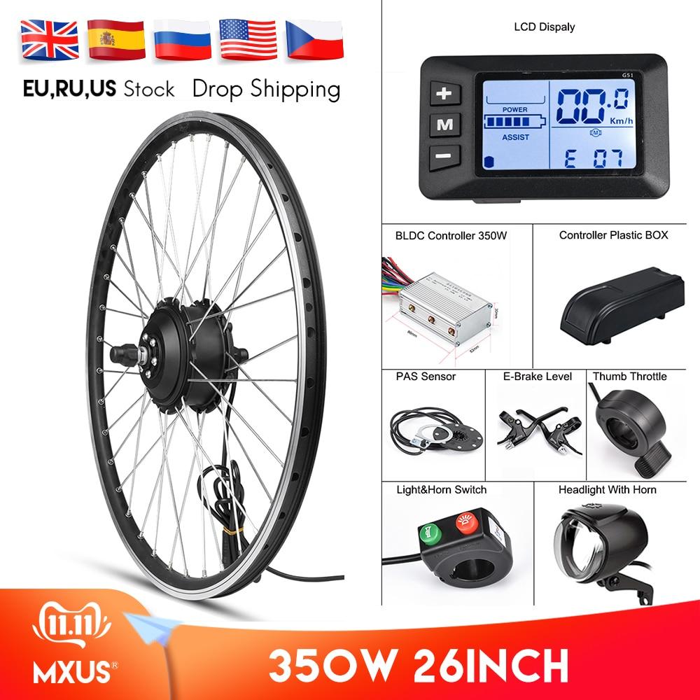 "MXUS Electric Bike Conversion Kit Front Wheel Motor 350W E Bike Kit 48V 36V Rear Hub Motor 26"" Bicycle BLDC Controller with LCD"