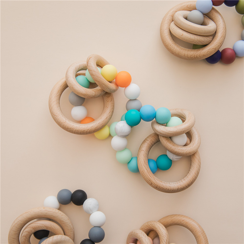Wooden Toys Baby Newborn Bracelets Beech Teether Silicone Beads Teething Wood Rattles Toys Infant Nursing Gift For Newborn