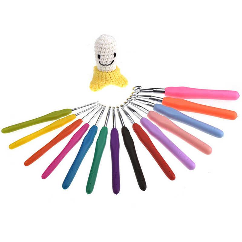 1 Máy Tính Nhiều Màu DIY Kim Đan Nắm Mềm Mại Với Tay Cầm Tiện Móc Đầu Nhôm Dệt Dụng Cụ May Vá Thủ Công DIY dụng Cụ