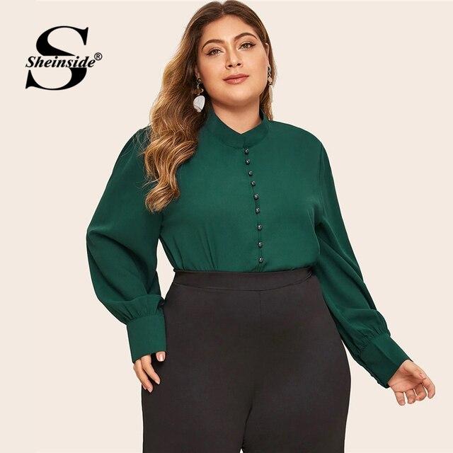 Sheinside Plus Size Elegant Green Stand Collar Blouse Women 2019 Autumn Button Up Detail Blouses Ladies Solid Minimalist Top