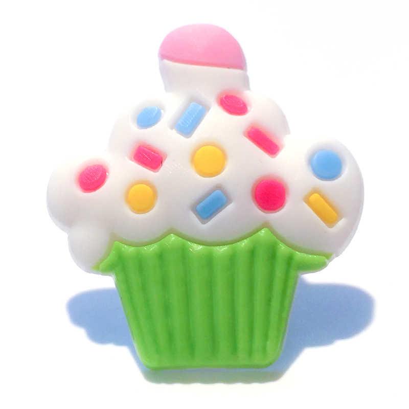 1 pieza de dulces pasteles de helado encantos de zapatos de PVC, hebillas de zapatos accesorios para pulseras de bandas Croc JIBZ, regalos de fiesta para niños x-mas